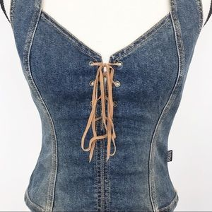 XOXO Denim and lace up Shirt/Vest M